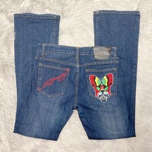 Ed Hardy Embroidered Jeans Bootcut Size 11/12